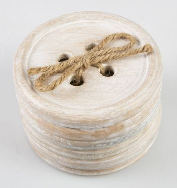 SASS & BELLE - SET OF 6 WOODEN BUTTON COASTERS